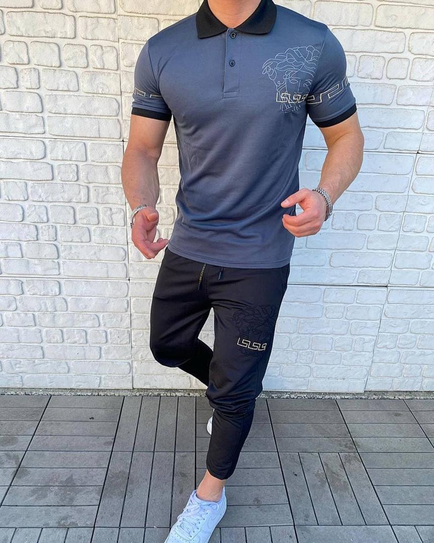 Мужской комплект футболка + штаны, нави, черный, S