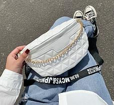 Стильная стеганная сумка на пояс  Бананка, фото 2