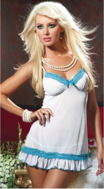 Пеньюар Kamelia полупрозрачный бело-голубой