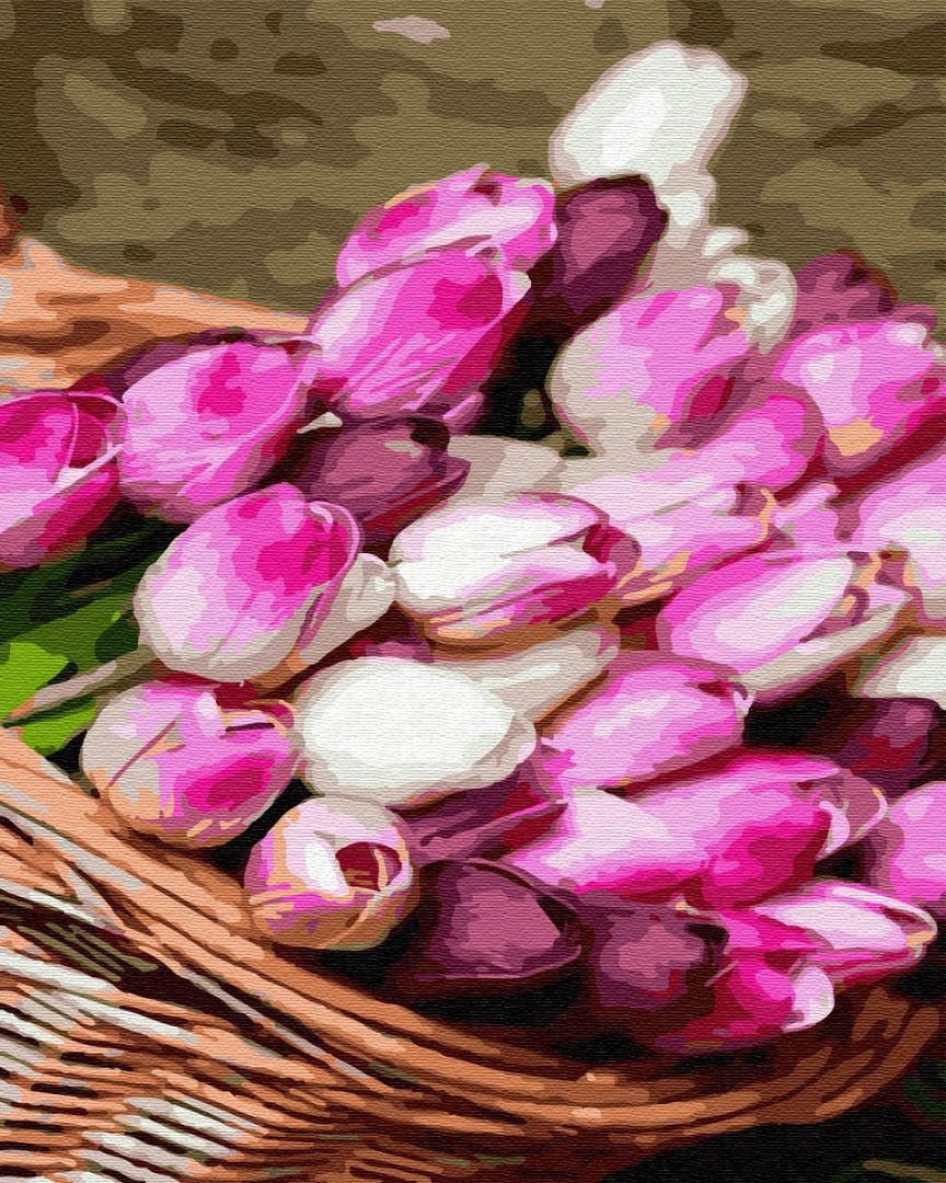 Картина по номерам - Корзина тюльпанов Brushme 40*50 см. (GX34797)