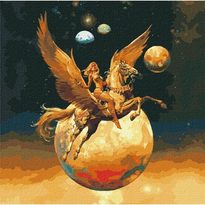 Картина за номерами - Завойовниця космосу з фарбами металік Ідейка 50*50 див. (КНО9542)