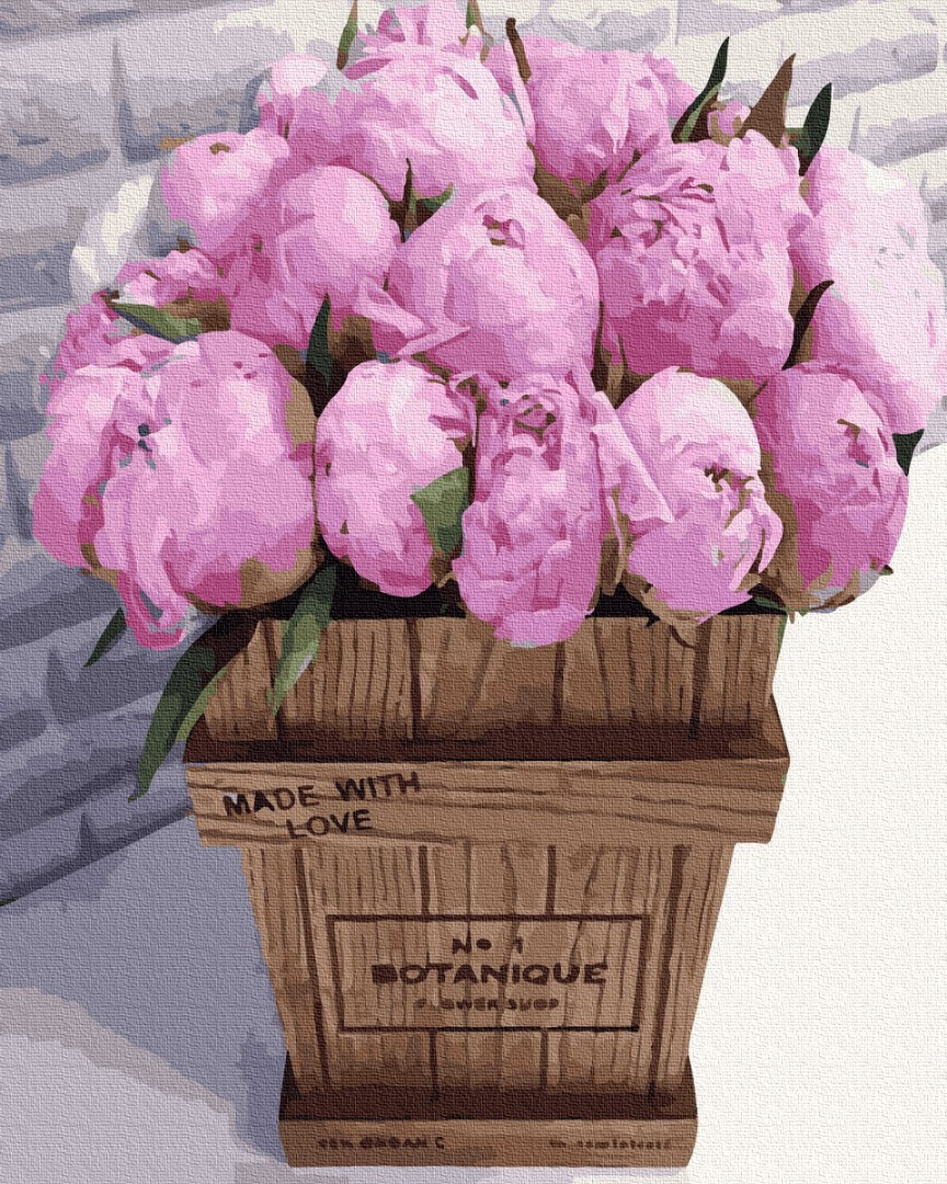 Картина по номерам - Букет розовых пионов Brushme 40*50см. (GX36092)