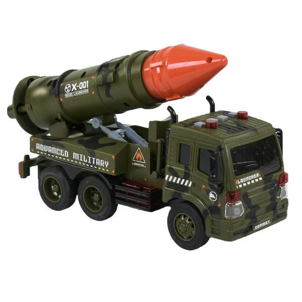Военная машина с ракетой игрушка детская Пусковая установка инерционная со светом и звуком Хаки (58142)