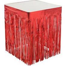 Юбка для стола из дождика для фотозон  красная 1х1 метр