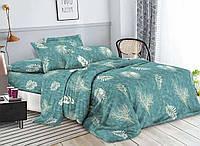 Комплект постельного белья 3Д полуторный размер Бязь Беларусь арт. Листья бирюзы