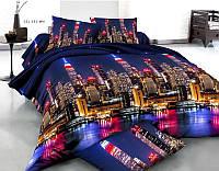 Постельное белье 3Д Двуспальный размер 180*215, Бязь Беларусь арт. Мегаполис город ночью