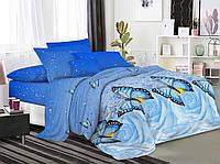 Постельное белье Семейный комплект 2 пододеяльника Бязь Беларусь арт. бабочка голубая