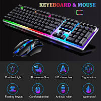 Игровые проводные мышь и клавиатура комплект Jedel COMBO GK100 RGB геймерская keyboard для ПК компьютера с LED