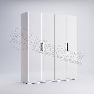 Шкаф 4 дв без зеркал Фэмили Белый глянец ТМ МироМарк