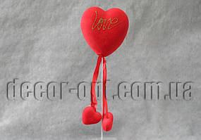 Сердце Love бол. на палочке пенопластовое с бархатом 8см/081S