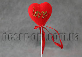 Сердце Love мал. на палочке пенопластовое с бархатом 5см/077S