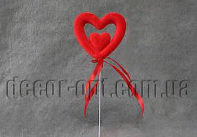 Сердце в сердце бол. на палочке  пенопластовое с бархатом 8см/091S