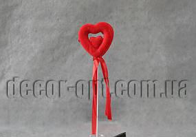 Сердце в сердце мал. на палочке  пенопластовое с бархатом 5см/090
