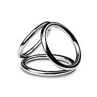 Потрійне ерекційне кільце Sinner Gear Unbendable - Triad Chamber Metal Cock and Ball Ring - Medium