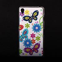 Чехол силиконовый ультратонкий Бабочки Цветочки для Sony Xperia Z3 D6603