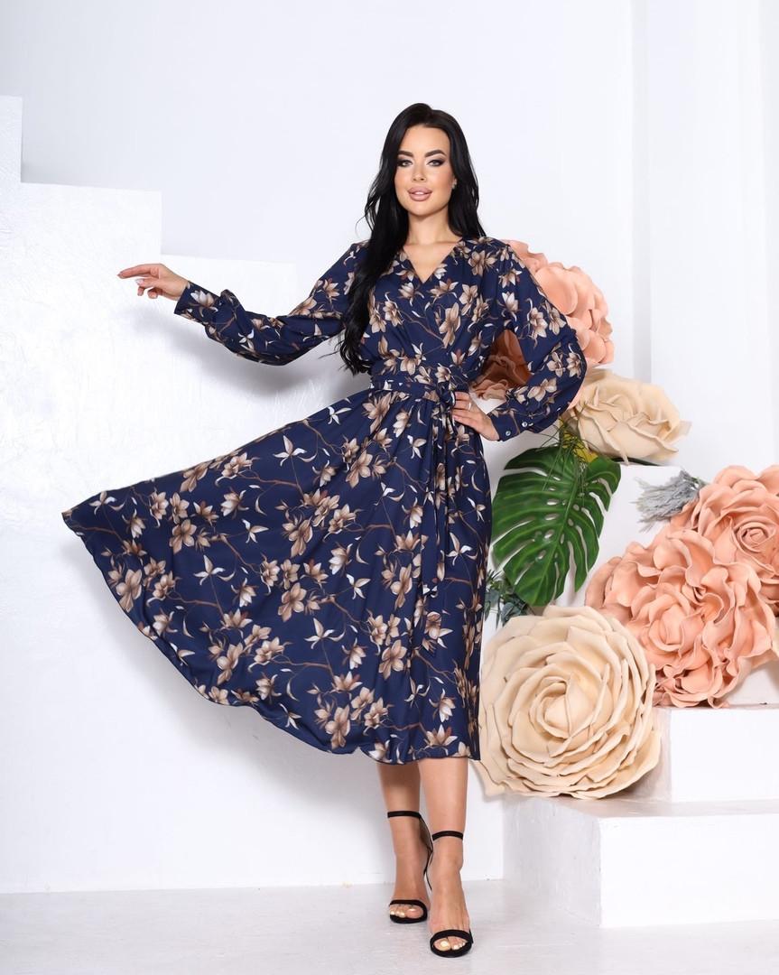 Женское платье, супер - софт, р-р 42-44; 46-48 (тёмно-синий)