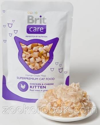 Консервы Brit Care Cat pouch  для котят, курица и сыр, 80г
