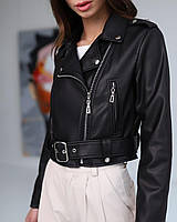 Весенняя косуха женская укороченная черная из эко - кожи, модная короткая куртка Эмили