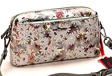 Женская сумка кожаная кросс-боди Eminsa 40125-1 белые цветы