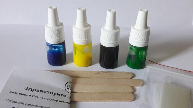 """Барвники, кольори для ремкомплектів для ванн Просто і Легко """"Непомітна латка"""". Пофарбована під колір ванни."""