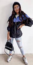 Женская ветровка, плащёвка Канада + джинс, р-р 42-44; 44-46 (чёрный)