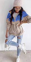 Женская ветровка, плащёвка Канада + джинс, р-р 42-44; 44-46 (бежевый)