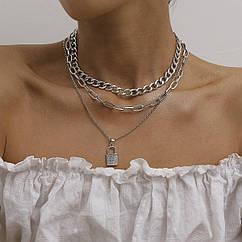 Набор цепочек из 3 шт Тонкая с Крупным звеном Цепочка на шею с Замком City-A Цвет Серебряная №3056