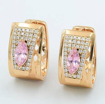 XUPING Сережки Позолота 18к з рожевими і білими цирконами, Ширина 1.1 см, Висота 2см
