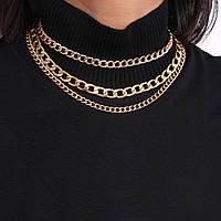 Набор цепочек из 3 шт Тонкая Толстая Цепочка на шею City-A Цвет Золотая №3059
