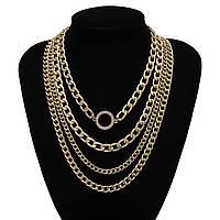 Набор цепочек из 4 шт Толстая с Крупным звеном Цепочка на шею с Кольцом City-A Цвет Золотая №3060