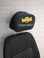 Подушка подголовник с логотипом в авто, EKKOSEAT. Опт. Черная, серая, бежевая...любая.