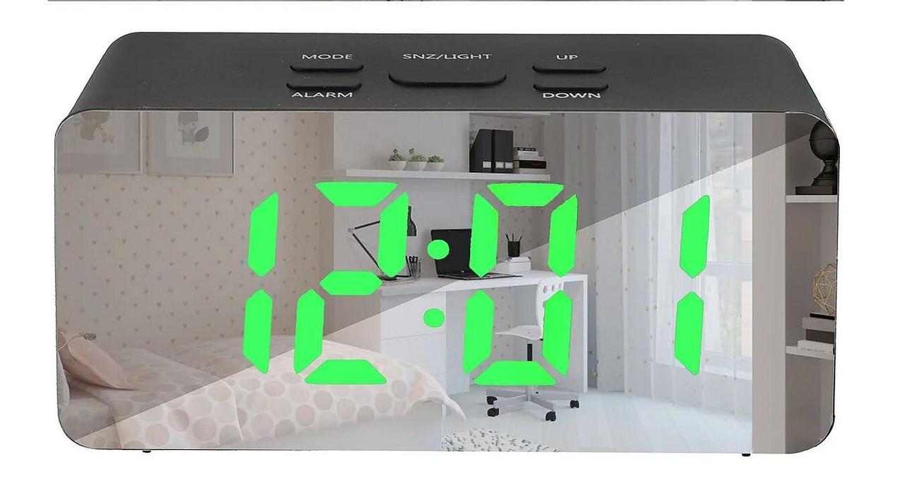 Зеркальные Led часы Ds-3658l black с будильником и термометром