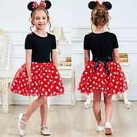 Модное детское нарядное платье Микки Минни с обручем на девочку, детские платья для девочек