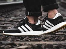 Мужские кроссовки Adidas Iniki в стиле адидас иники Черные/Белые (Реплика ААА+)