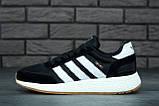 Женские кроссовки Adidas Iniki в стиле адидас иники Черные Белые (Реплика ААА+), фото 2