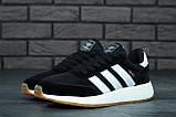 Женские кроссовки Adidas Iniki в стиле адидас иники Черные Белые (Реплика ААА+), фото 3
