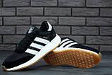 Женские кроссовки Adidas Iniki в стиле адидас иники Черные Белые (Реплика ААА+), фото 5