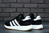 Женские кроссовки Adidas Iniki в стиле адидас иники Черные Белые (Реплика ААА+), фото 6