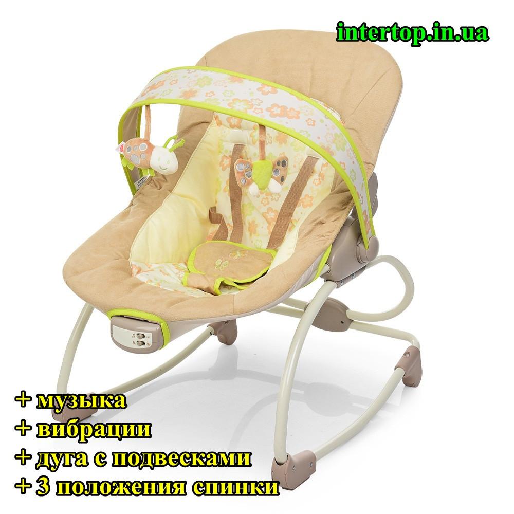 Детское кресло-качалка шезлонг 2в1 Mastela, с музыкой и виброрежимом бежевый цвет от рождения до 18 кг