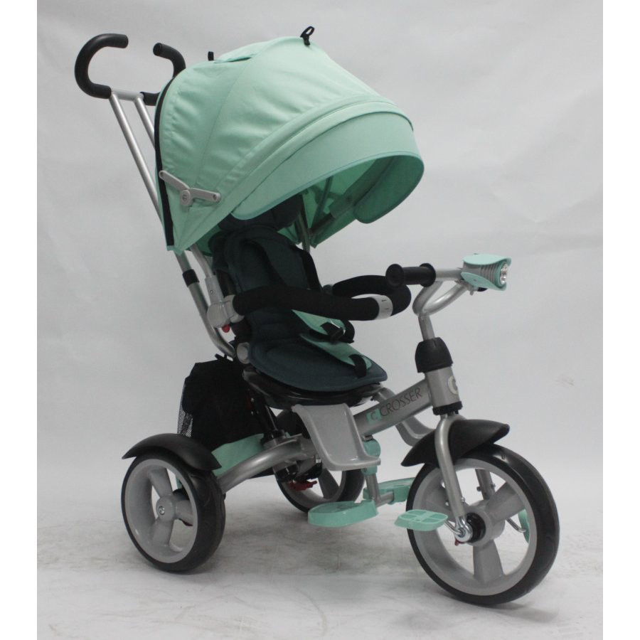 Триколісний велосипед з фарою і поворотним сидінням Azimut Crosser T503 EVA, бірюза