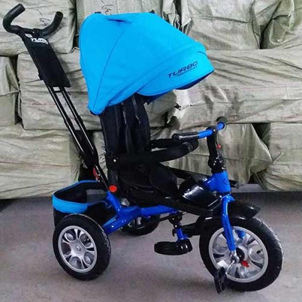 Дитячий триколісний велосипед-колясска з ручкою і поворотним сидінням,TURBOTRIKE синьо-блакитний,надувні