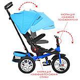 Дитячий триколісний велосипед-колясска з ручкою і поворотним сидінням,TURBOTRIKE синьо-блакитний,надувні, фото 4