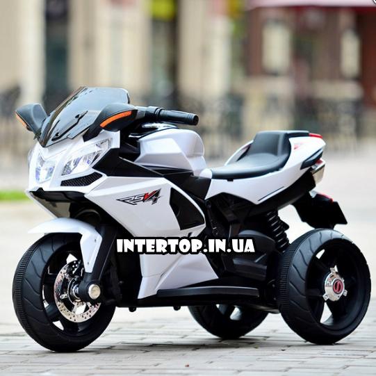 Дитячий триколісний електромобіль-мотоцикл на акумуляторі Bambi 3912 з шкіряним сидінням білий