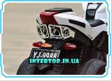 Дитячий триколісний електромобіль-мотоцикл на акумуляторі Bambi 3912 з шкіряним сидінням білий, фото 8