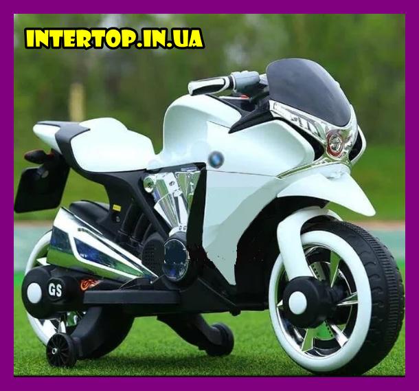 Дитячий електро мотоцикл на акумуляторі Bambi M 3682L-1 білий. Дитячий мотоцикл електричний