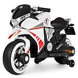 Дитячий електро мотоцикл на акумуляторі Bambi M 3682L-1 білий. Дитячий мотоцикл електричний, фото 2