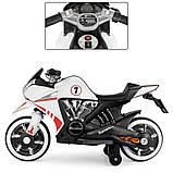 Дитячий електро мотоцикл на акумуляторі Bambi M 3682L-1 білий. Дитячий мотоцикл електричний, фото 4