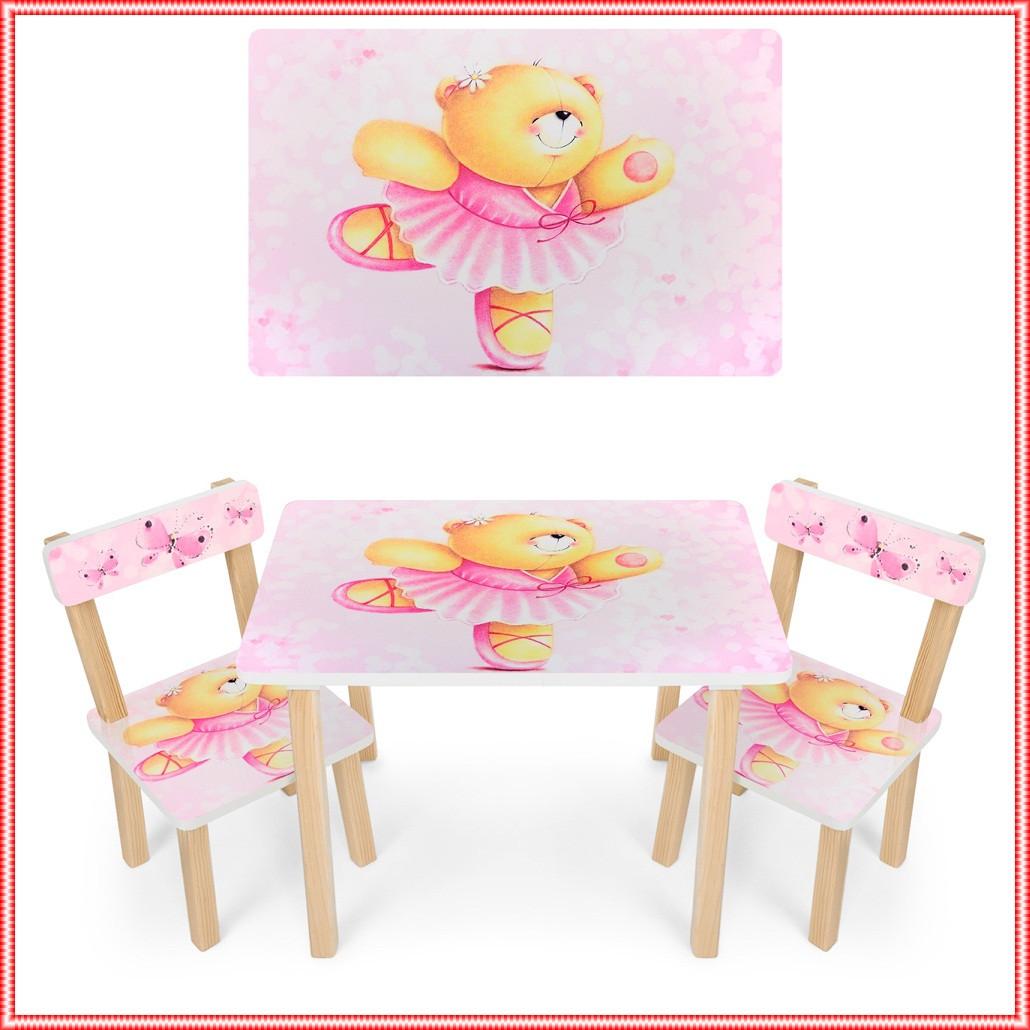 Детский деревянный столик и 2 стульчика Мишка, розовый, 501-23  Мишка