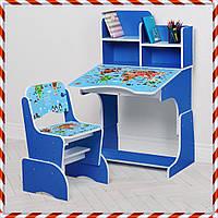 Детская парта со стульчиком Растишка с регулировкой высоты и наклона География, B 2071-45-7 синий