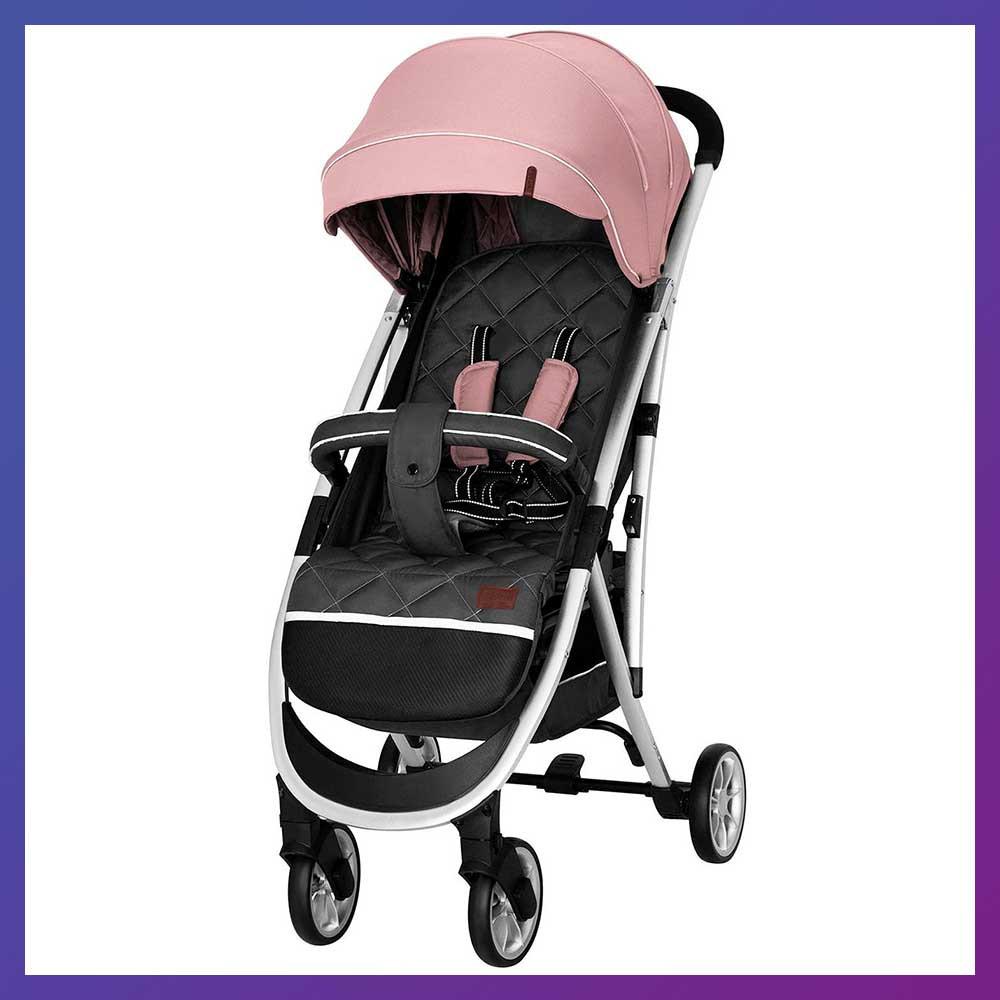 Детская прогулочная коляска - книжка с регулируемой спинкой CARRELLO Gloria CRL-8506/1 розовая колеса резина